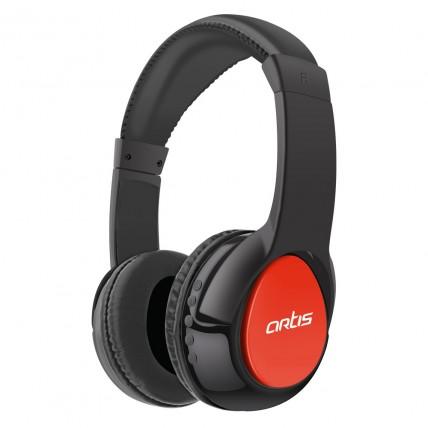 Bluetooth Headphone with Mic. / FM Radio / Micro SD card Reader (Black-Red) : Artis BH200M
