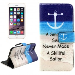Letters Hanging on the Seabeach Pattern Cross Texture Leather Case with Holder & Card Slots & Wallet for iPhone 6 & 6S