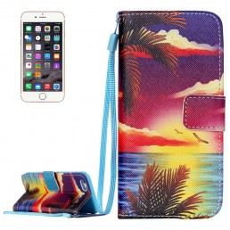 Setting Sun & Birds & Sea Pattern Horizontal Flip Leather Case with Holder & Card Slots & Wallet & Lanyard for iPhone 6 & 6s