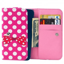 Universal Bowknot and Pink & White Polka Dot Pattern Leather Case with Card Slots & Wallet for iPhone 6 & 6S / iPhone 5S & 5C , Samsung Galaxy S4 / i9500 / S3 / i9300