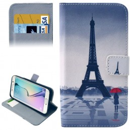 Eiffel Tower Pattern Leather Case with Card Slots & Wallet for Samsung Galaxy S6 Edge / G9250