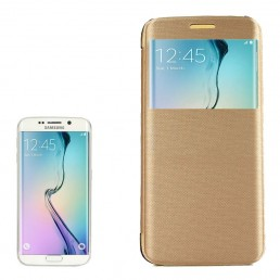 PC PU Cashmere Fiber Leather Case with Transparent Back Shell & Call Display ID for Samsung Galaxy S6 Edge / G9250