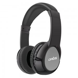 Bluetooth Headphone with Mic. / FM Radio / Micro SD card Reader (Black-Grey) : Artis BH200M