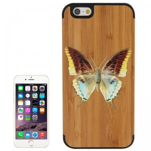Butterfly Pattern Wood Paste Black Moblie Case for iPhone 6 & 6S