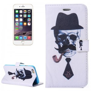 Skull Gentleman Pattern Flip Leather Case with Holder & Card Slots & Wallet for iPhone 6 & 6S