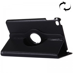 Litchi Texture 360 Degrees Rotating Horizontal Flip Solid Color Leather Case with Holder for iPad Pro 12.9 inch (Black)