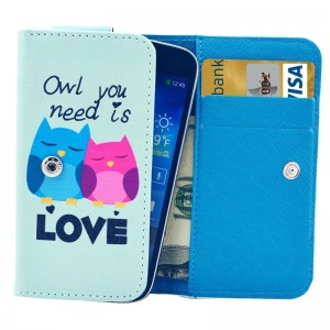 Universal Owl Pattern Leather Case with Card Slots & Wallet for iPhone 6 & 6S / iPhone 5S & 5C, Samsung Galaxy S4 / i9500 / S3 / i9300