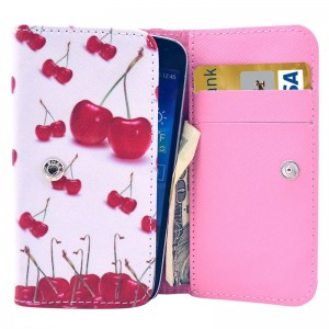 Universal Cherry Pattern Leather Case with Card Slots & Wallet for iPhone 6 & 6S / iPhone 5S & 5C, Samsung Galaxy S4 / i9500 / S3 / i9300