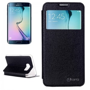 UFO Flavedo Texture Horizontal Flip Leather Case with Caller ID Display & Holder & Card Slot for Samsung Galaxy S6 Edge / G925
