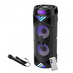 MS304 Wireless Bluetooth Super Bass Portable Party Speaker with RGB Lights, Wired Mic, Remote Control, FM Radio & Aux in/USB/TF Card Reader Input