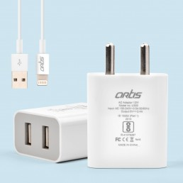 U300 2.4A USB Wall Charger Adapter/BIS Certified/Indian Plug with Cable